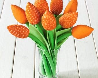 Orange tulips, fabric flowers bouquet. Flowers for mom, wedding bouquet, birthday gift, fabric tulip.