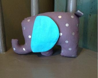Elephant Plush Toy, Stuffed Toy, Polka Dot Animal Stuffie, Soft Lovie, Soft Teether, Great Baby Shower Gift!