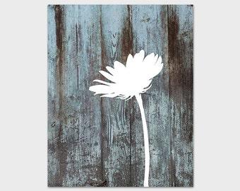 Daisy Print, 8x10 Printable Flower Art Print, Distressed Wood, Blue and White Wall Art, Daisy Art Print, Instant Download Nursery Print
