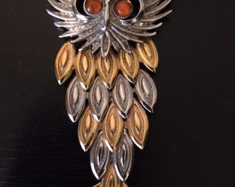 Vintage Mid Century Large Owl Pendant Necklace Pin