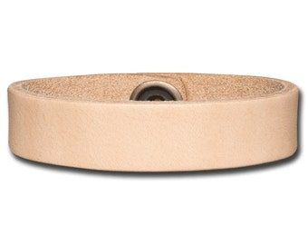 Leather Wristband 16mm Natural with Snap Fastener Nickel Free