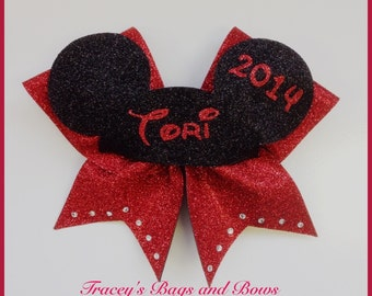 Mickey Mouse Cheer Bow with mickey ears name and year