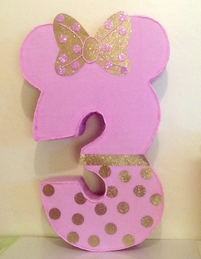 Decoracion Minie Dorada ~ Minnie mouse 3 pinata Minnie mouse rosa y dorado por aldimyshop