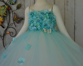 Aqua Flowergirl Dress,Girls Capri Blue Special Occasion Dress,Toddler Blue Dress, Infant Aqua Blue Dress,Girls Beach Dress, Ivory Aqua Dress
