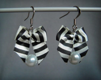 Black and white striped bow aromatherapy / detox earrings