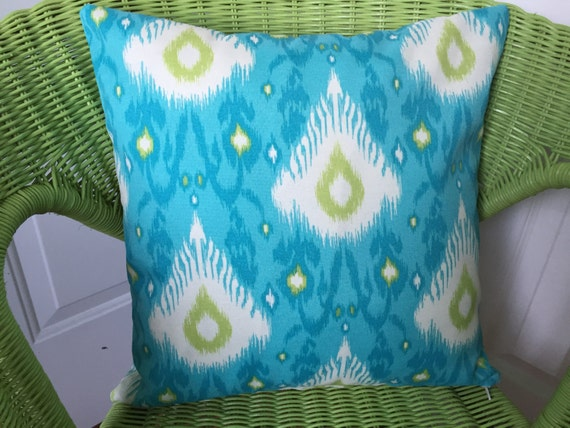 Modern Teal Decorative Throw Pillow : Teal Turquoise Outdoor Pillow Cover Modern Ikat Decorative
