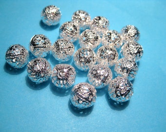 20pcs Bright Silver Plated Filigree Hollow Spacers Beads 10mm Round