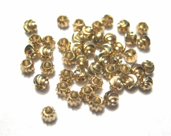50pcs Copper Spacer Beads 3mm Round Light Gold  (N0.534)