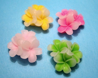 10pcs Flatback Resin Flower Cabochons 21mm