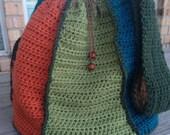 Large Crochet Multi-colored Drawstring Handbag Pattern - Beginner Crochet Bag Pattern - Step by Step Instructions - Immediate Download Now