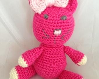 "Crocheted Amigurumi Kitty Cat with Pink Bow - 10 1/2"" Cat - Amugurumi Cat - Bright Pink Crocheted Cat - Kid Safe Stuffed Animal - baby gift"