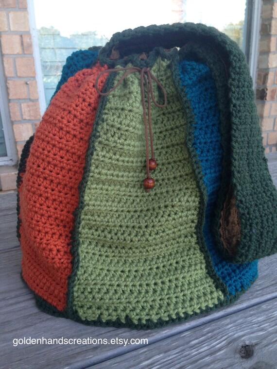 Knitting Bag Patterns Beginners : Large crochet multi colored drawstring handbag pattern