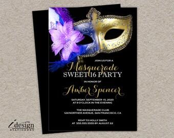 Sweet 16 Masquerade Invitation, DIY Printable Mardi Gras Sweet 16 Party Invitations, Masquerade Sweet Sixteen, Masquerade Ball Invites
