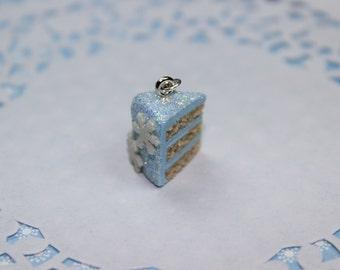 Winter Snowflake Cake Slice Charm - Miniature Food Jewelry
