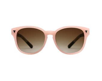 Two tone round wayfarer style sunglasses in peach and blue