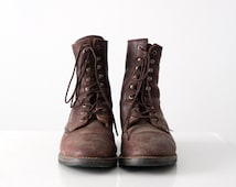 vintage lace up work boots, men's leather boots, size 10