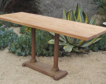 vintage industrial cast iron lathe base with new butcher block table top