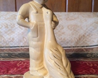 1940's CHALKWARE Child Figure and Goose