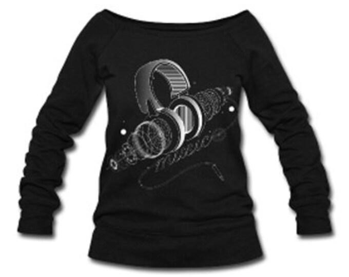Headphones & Music Wide Neck Off Shoulder Slouchy Women's Sweatshirt - Black