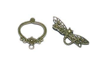 2 Set Dragonfly Toggle Clasp - Antique Bronze Finish, Decorated Clasp, Dragonfly Clasp, Flower Clasp, Bronze Clasp