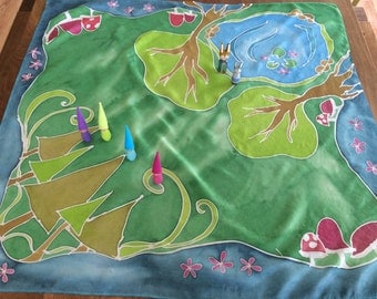 Magic Forest Painted Silk Play Mat, waldorf inspired, play silk, handmade kids toy, painted playsilk, travel toy, silk toy, play mat,