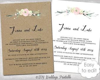 printable rustic wedding invitation | etsy, Wedding invitations