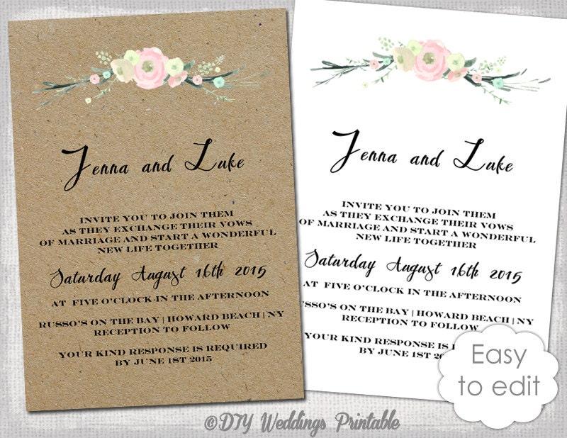Wedding Invitation Templates Free Printable: Printable Rustic Wedding Invitation Template Rustic