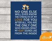 Fox Print - Navy and Orange - 8x10 - No One Else Will Ever Know - Instant Download - Nursery DIY - Fox Illustration