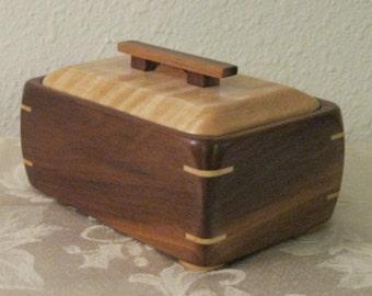 Walnut and maple  wood keepsake box.