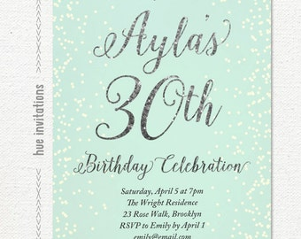turquoise and silver glitter 30th birthday party invitation, digital printable womens birthday party invite, glam glitter birthday 189