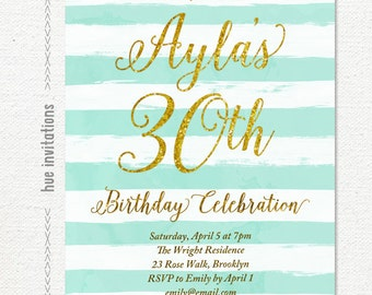 stripes 30th birthday party invitation, turquoise blue and gold glitter womens birthday invitation, watercolor brushstrokes invite, 183