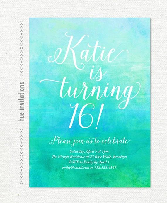turquoise 16th birthday party invitation green blue, Einladungsentwurf