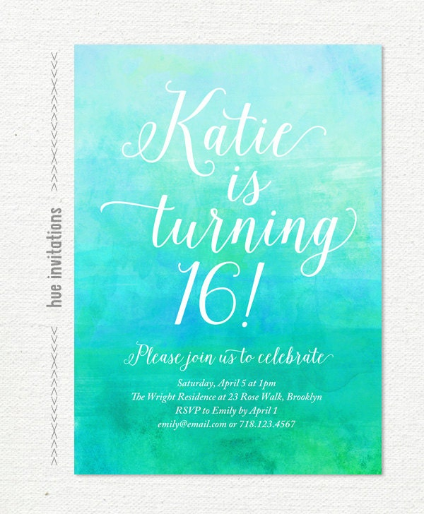 turquoise th birthday party invitation green by hueinvitations, Party invitations