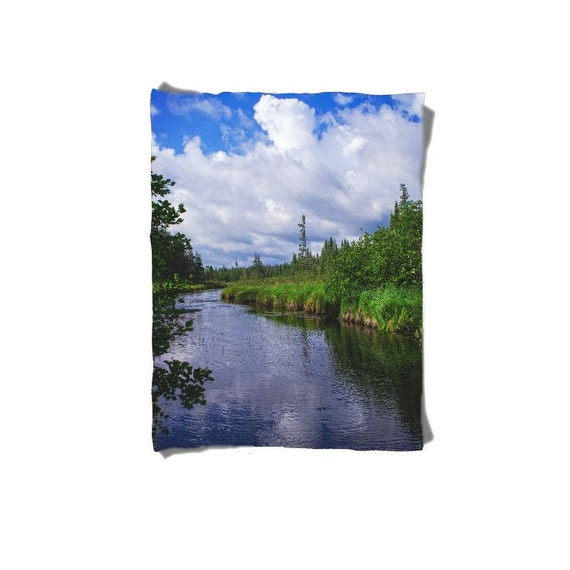 Fleece Blanket, Boundary Waters, River Bed, Nature Photography, Photo Gifts, Baby Blanket, Queen Size, Full Bed, Home Decor, Man Cave