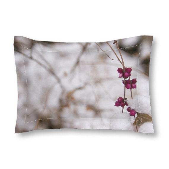 Pillow Sham, White and Pink, Winter Photography, Snowy Images, Unique Bedding, Decorative Pillows, Standard Sized, King Pillow Cover
