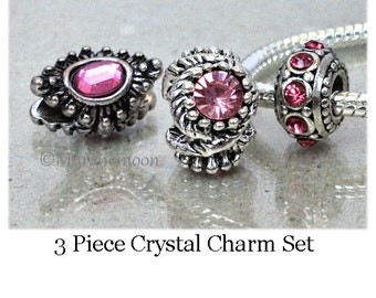 Pink Crystal Charm Set Fit European Bracelet Pink Crystal Bead Charm Large Big Hole Bead Add A Bead Make Your Own Jewelry #CB166