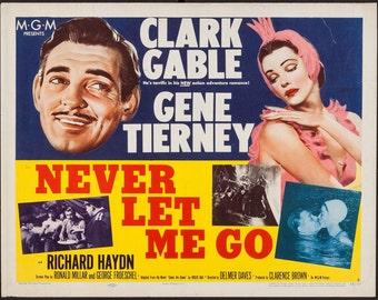 MOVIE POSTER - Clark Gable, Gene Tierney, 1953 - half sheet 22x28