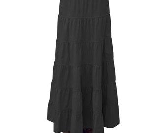 Baby'O Women's Black Ankle Length 6 Tiered Long Denim Prairie Skirt, 8205 BLK