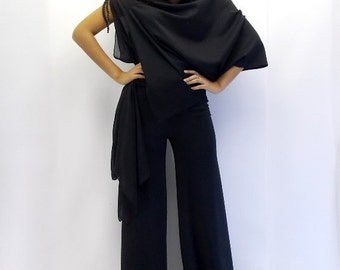 Black Jumpsuit, Black Asymmetric Jumpsuit, Plus Size Jumpsuit TJ01 by TEYXO