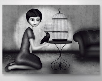 The girl with the birds - postcard A6