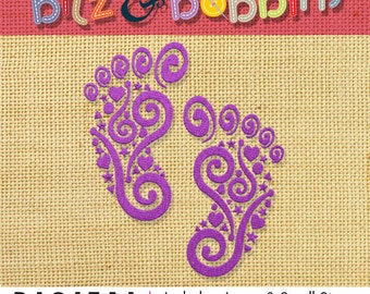 Footprint Baby Feet Digital Machine Embroidery Design