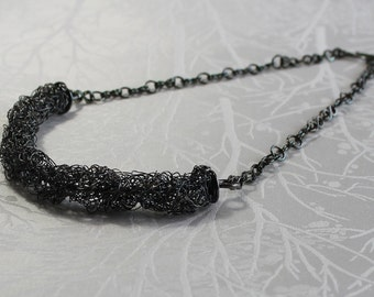 Oxidized Sterling Silver Crochet Necklace with Handforged Chain and Clasp