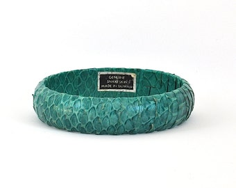 Vintage Green Snakeskin Bangle Bracelet