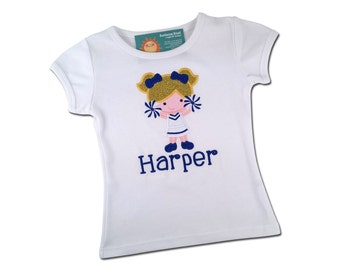 Girl's Cheerleader Shirt with Embroidered Name - Cutie Cheerleader #2 with Customizable Colors