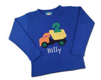 Boy's Birthday Shirt with Dump Truck, Number, Button Wheels and Embroidered Name