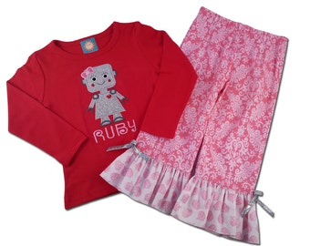 Girl Robot Shirt with Name and Matching Ruffle Pants
