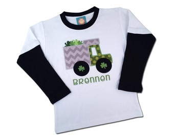 Boy's St Patrick's Day Shirt with Shamrock Truck and Name