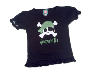 Girl's Gasparilla Pirate Shirt with Glittery Pirate Skull and Embroidered Name