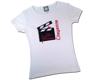 Girl's Hollywood Shirt with Glitter Movie Clap Board and Embroidered Name