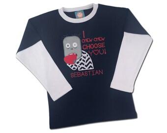 Boy's Zombie Valentine Shirt - 'I Chew Chew Choose You' with Name